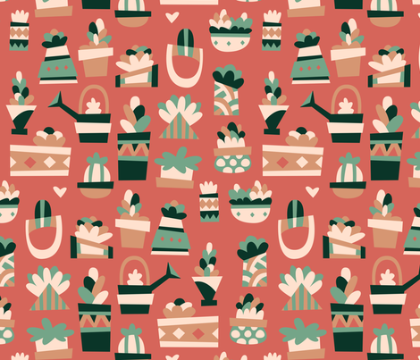 Vintage Succulents fabric by hollybender on Spoonflower - custom fabric