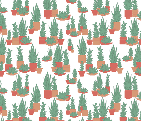 Potted succulents fabric by elsie_pie on Spoonflower - custom fabric