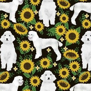 poodle fabric white poodles sunflowers design - black