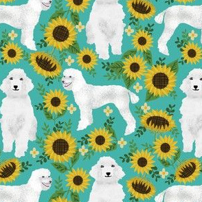 poodle fabric white poodles sunflowers design - turquoise