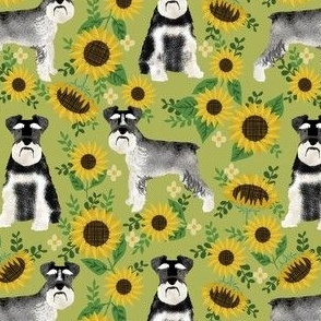 schnauzer fabric dog and sunflower summer fabric - green