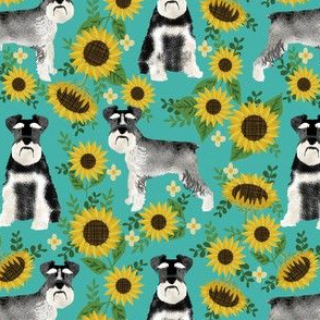 schnauzer fabric dog and sunflower summer fabric - turquoise