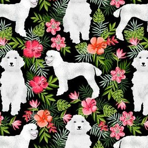 poodle fabric white poodle design hawaiian tropical design - black