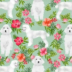 poodle fabric white poodle design hawaiian tropical design - mint