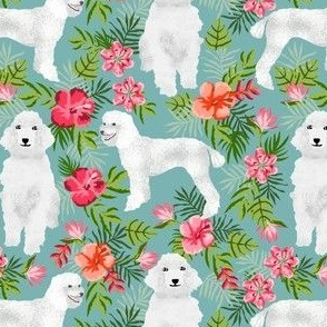 poodle fabric white poodle design hawaiian tropical design - light blue