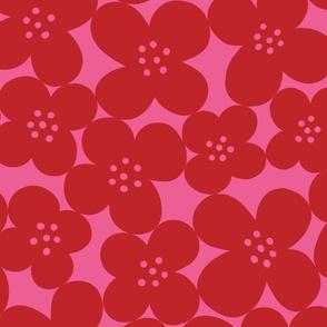 grandes fleurs dark red & pink mix