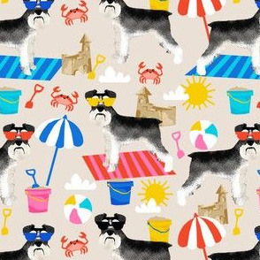 schnauzer summer sandcastles design summer dog fabric - sand