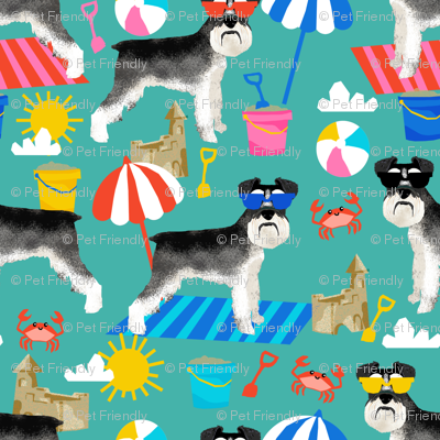 schnauzer summer sandcastles design summer dog fabric - turquoise