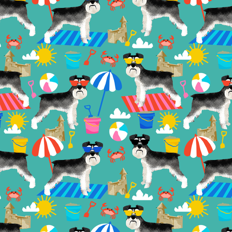 schnauzer summer sandcastles design summer dog fabric - turquoise fabric by petfriendly on Spoonflower - custom fabric