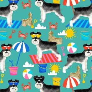 schnauzer summer sandcastles design summer dog fabric - turquoise