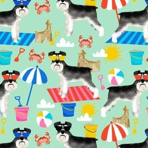 schnauzer summer sandcastles design summer dog fabric - mint