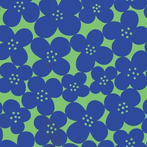 grandes fleurs cobalt blue & spring green mix