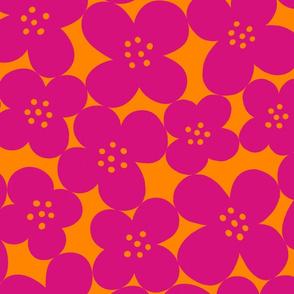 grandes fleurs pink & orange mix