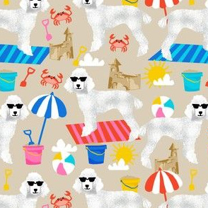 white poodle fabric sandcastles summer design beach fabric - sand
