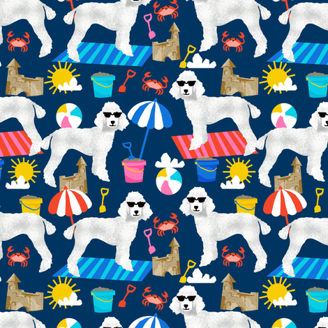 white poodle fabric sandcastles summer design beach fabric - navy fabric by petfriendly on Spoonflower - custom fabric