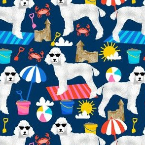white poodle fabric sandcastles summer design beach fabric - navy