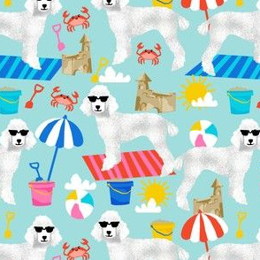 white poodle fabric sandcastles summer design beach fabric - light blue