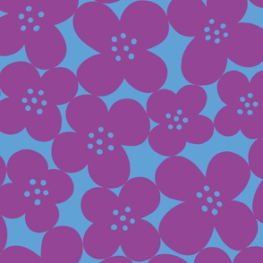 grandes fleurs purple & sky blue mix