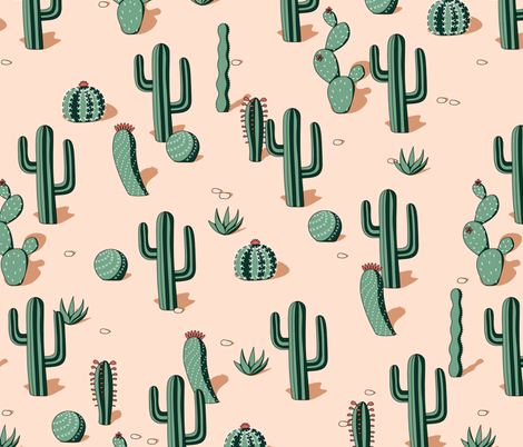 cactaceas desert (limited palette) fabric by analinea on Spoonflower - custom fabric