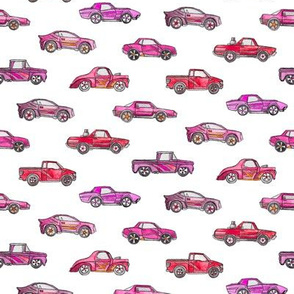 Girly Toy Cars in Watercolor on White