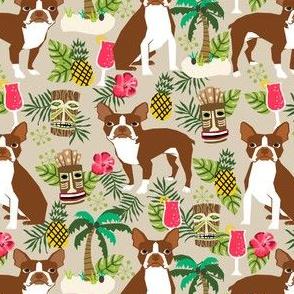boston terrier fabric summer islands tiki designs
