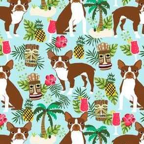 boston_liver_tikiboston terrier fabric summer islands tiki designs - light blue