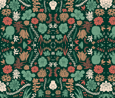 Victorian Succulents fabric by kimjohnsonstudios on Spoonflower - custom fabric