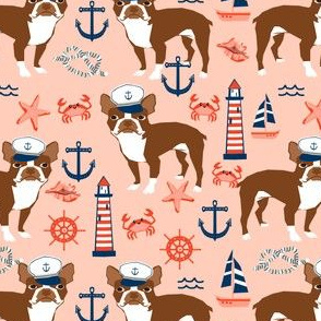 boston terrier nautical summer fabric anchors lighthouses sailors fabric - blush