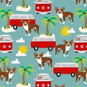boston terrier beach bus fabric  hippie summer design - light blue
