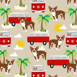 boston terrier beach bus fabric  hippie summer design - sand