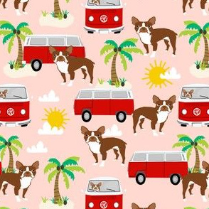 boston terrier beach bus fabric  hippie summer design - blush