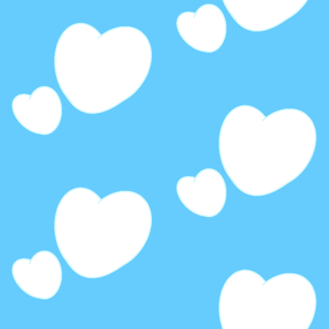 Heart clouds fabric by roseivy on Spoonflower - custom fabric