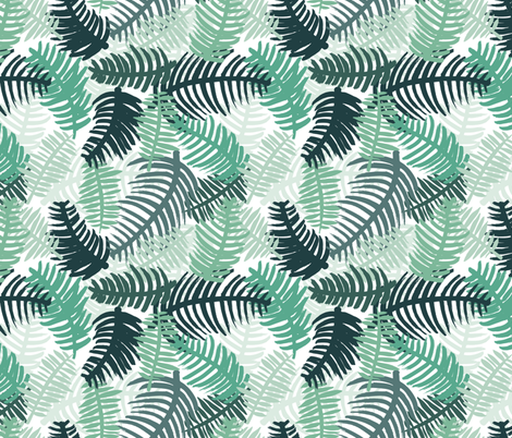 Green tropical hawaiian summer garden brazil plants and palm leaves green fabric by littlesmilemakers on Spoonflower - custom fabric