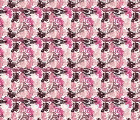 Green tropical hawaiian summer garden brazil plants and palm leaves pink SMALL fabric by littlesmilemakers on Spoonflower - custom fabric