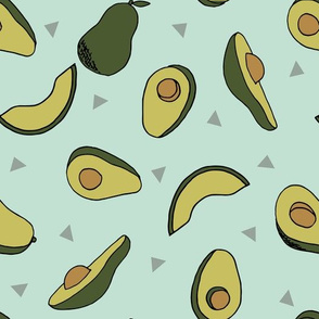avocados fabric // avocado fruit and veggies fabric by andrea lauren - dark / blue