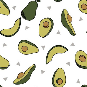 avocados fabric // avocado fruit and veggies fabric by andrea lauren - dark/white