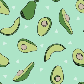 avocados fabric // avocado fruit and veggies fabric by andrea lauren - mint