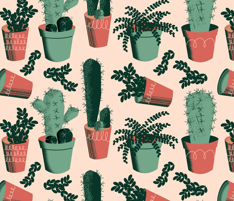 Succulent Succulents ~ Limited Color Palette  fabric by retrorudolphs on Spoonflower - custom fabric