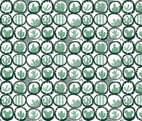 Succulent circles   fabric by ruth_robson on Spoonflower - custom fabric