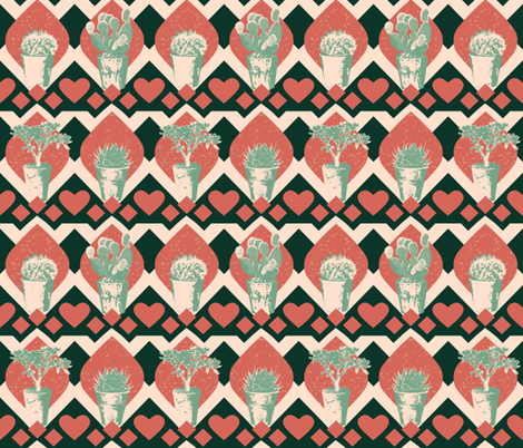 Tiled Potted Succulents Small fabric by bloomingwyldeiris on Spoonflower - custom fabric