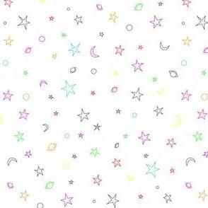 Ditsy Space Print - rainbow