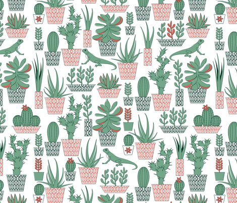 Potted succulents fabric by ebygomm on Spoonflower - custom fabric