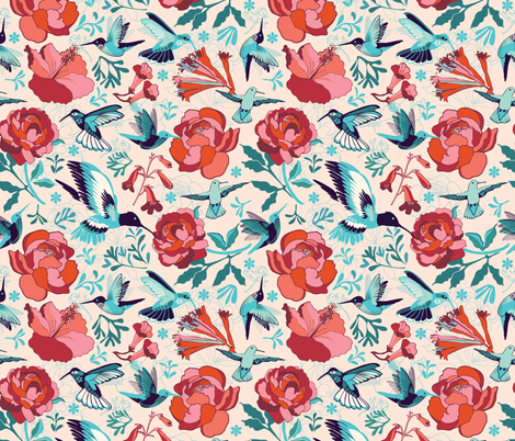 Hummingbird summerdance fabric by camcreative on Spoonflower - custom fabric