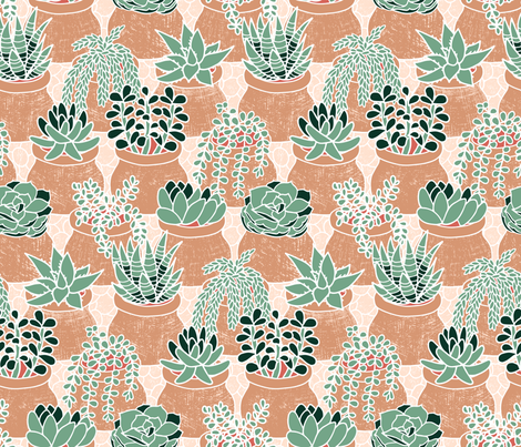 Succulent's tiny pots fabric by mia_valdez on Spoonflower - custom fabric