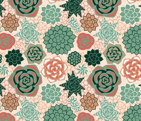 Succulents fabric by olgart on Spoonflower - custom fabric