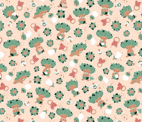 Cute baby suculents fabric lauraflorencedesign spoonflower for Cute baby fabric prints