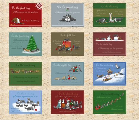 12 days of Corgi Christmas  fabric by wheelcorgi on Spoonflower - custom fabric