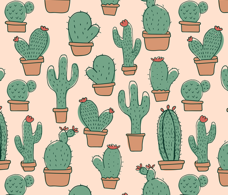 Caring Cactus fabric by digidivagraphics on Spoonflower - custom fabric
