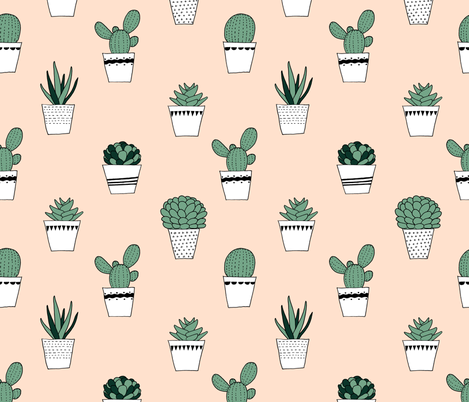 potted succulents   fabric by littlearrowdesign on Spoonflower - custom fabric