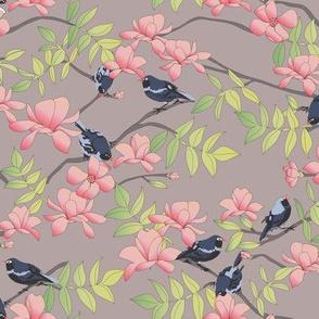 Little Birds and Blooms greige